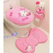 4 UNIDS/SET Hello Kitty Rosa de Dibujos Animados Suave Cubierta de Alfombra de Baño Titular de Baño Tapa Del Inodoro Alfombra Cojín Del Asiento Anillos Higiénico conjunto(China)