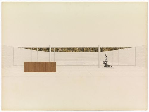 sixtensason:  Ludwig Mies van der Rohe & Unknown Artist, Study of Court House; Graduate Student Project, Perspective, ca.1950s