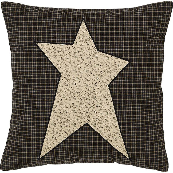 "PRE-ORDER for July shipping! Primitive Star Fabric Pillow 16"" Filled Our 16x16"" Primitive Star pillow is made from 100% cotton and comes filled. With a black and tan plaid background, the pillow featu"
