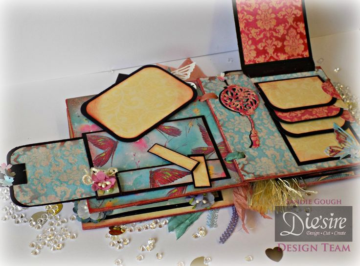 Sandie Gough: 6x6 Chipboard Mini Album - Kimono Paper Pad - Die'sire Kimono Die sets: Lotus Blossom, Bird Cage,  Butterfly, Oriental Lantern & Peacock - Crafter's Companion Matt Black card - Collall All Purpose & Tacky glues,  Crafter's Companion Red Liner tape - Ribbons, Corner Punch, pearls, tassel, braids, flowers, lace - #crafterscompanion
