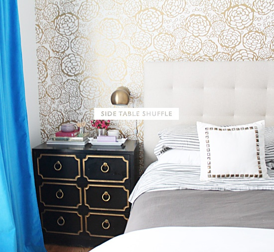Dorothy Draper Side Table / Gold And Black / Gold And White / Bedroom