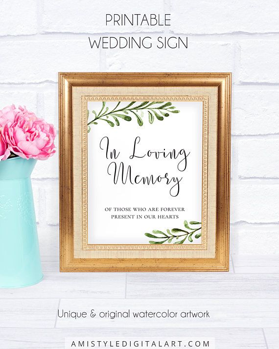Weddings Loving Memory Sign, with lovely and elegant watercolor botanical design for your delightful rustic style wedding.This unique wedding signage is an instant download PRINTABLE PDF pack so you can download it right away and print it at home or at your local copy shop by Amistyle Digital Art on Etsy