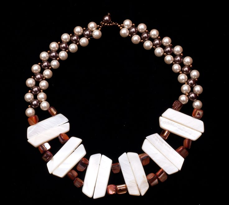 mother of peals and peals ,beaded necklace. By Angela.