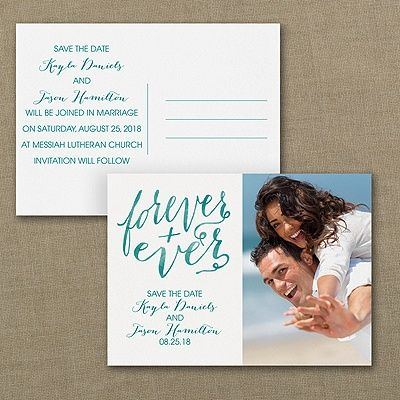 Forever and Ever Photo Save the Date Postcard 40% OFF  |  http://mediaplus.carlsoncraft.com/Wedding/Save-the-Dates/3254-TWS37196-Forever-and-Ever--Photo-Save-the-Date-Postcard.pro  |  TWS37196 Save an envelope - send a postcard. Typography and a splash of watercolor go great with your photo. Save the date wording on the other side add the finishing touch.