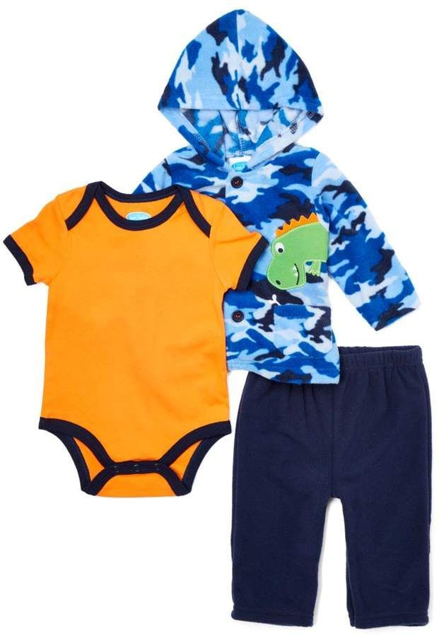 59ea5849f Bon Bebe Blue   Orange Camo Dinosaur Microfleece Jacket Set ...