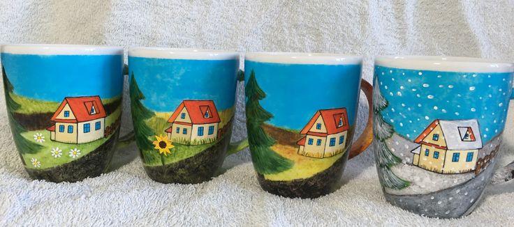 """Kubki """"dom i cztery pory roku"""" -  mugs """"house and the four seasons"""""""