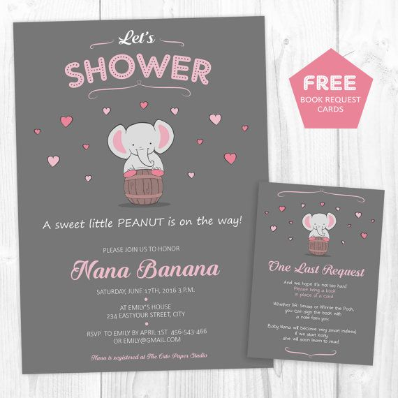 Elephant Baby Shower Invitation girl Elephant by TheCutePaperStudio  Elephant Baby Shower Invitation girl Elephant Invitation Baby girl Invitation Baby Shower Invitation Elephant