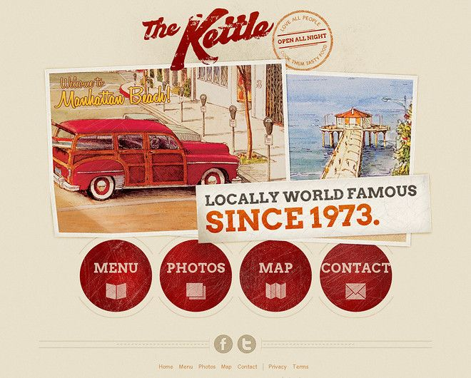 Cool retro website from The Kettle. Nice use of tan & red & vintage graphics. CoolHomepages.com