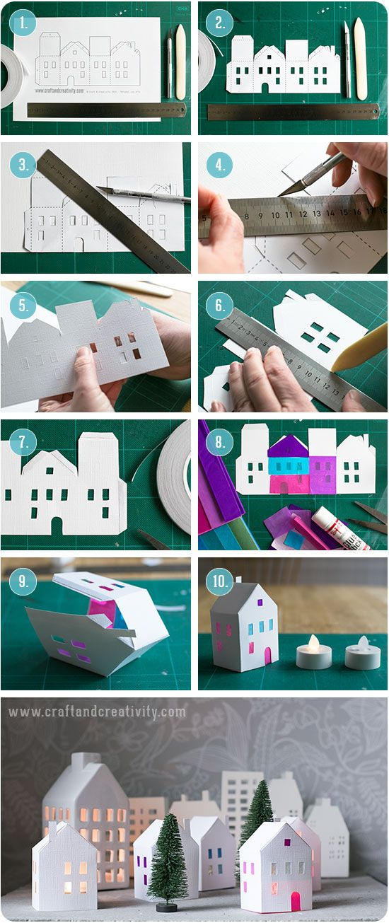 Tea light paper houses (free template) diy rhs