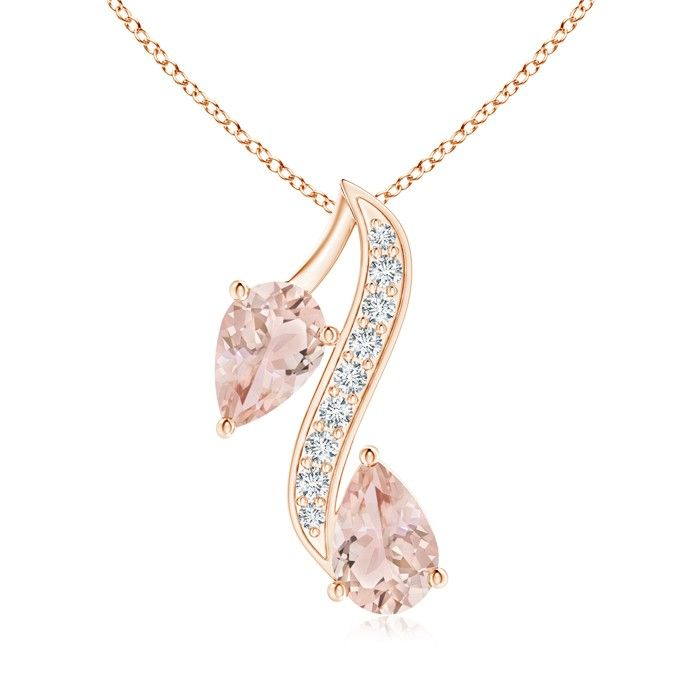 Angara Morganite Teardrop Necklace in Platinum