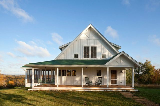 Unique farmhouse for mid size family w porch hq plans for One level farmhouse house plans