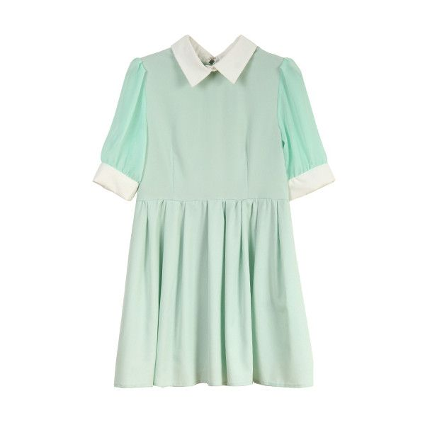 Retro Lapel Neck Green Dress (160 PLN) ❤ liked on Polyvore featuring dresses, vestidos, mint, short dresses, retro dress, short sleeve dress, chiffon mini dress and green mini dress