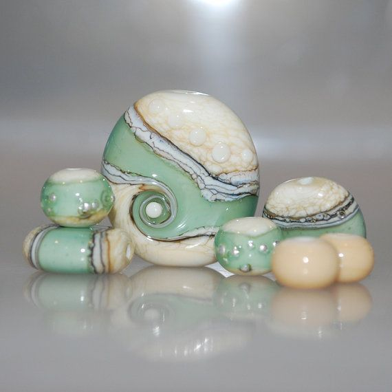 Beachy Ivory & Green Organic Lampwork Glass Bead Set by genschi, $30.00