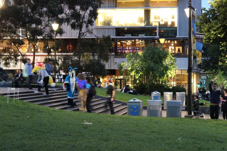 Entrance view of Fathers Office from the State Library lawns. Can you spot the bar?