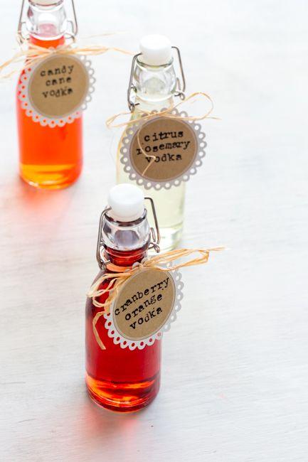 Homemade Holiday Gift Infusions: 1) Cranberry Orange Vodka, 2) Citrus Rosemary Vodka, 3) Candy Cane Vodka
