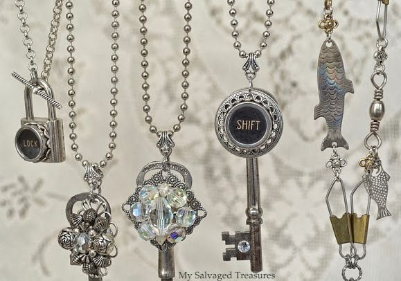 """Gorgeous Salvaged Style Jewelry!  Love the """"lock"""" on the padlock!"""