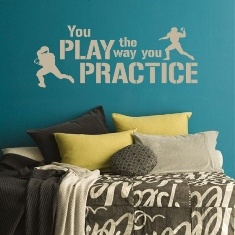 """""""You Play The Way You Practice"""" Boy's sport themed bedroom wall decal for more designs visit lacybella.com"""