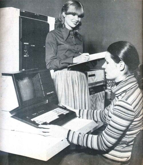 Videoton computers at hard work, c1975.