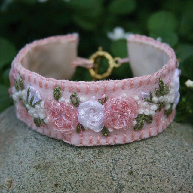 Embroidered Bracelet - Pink and White Rose Garland on Felt £12.00