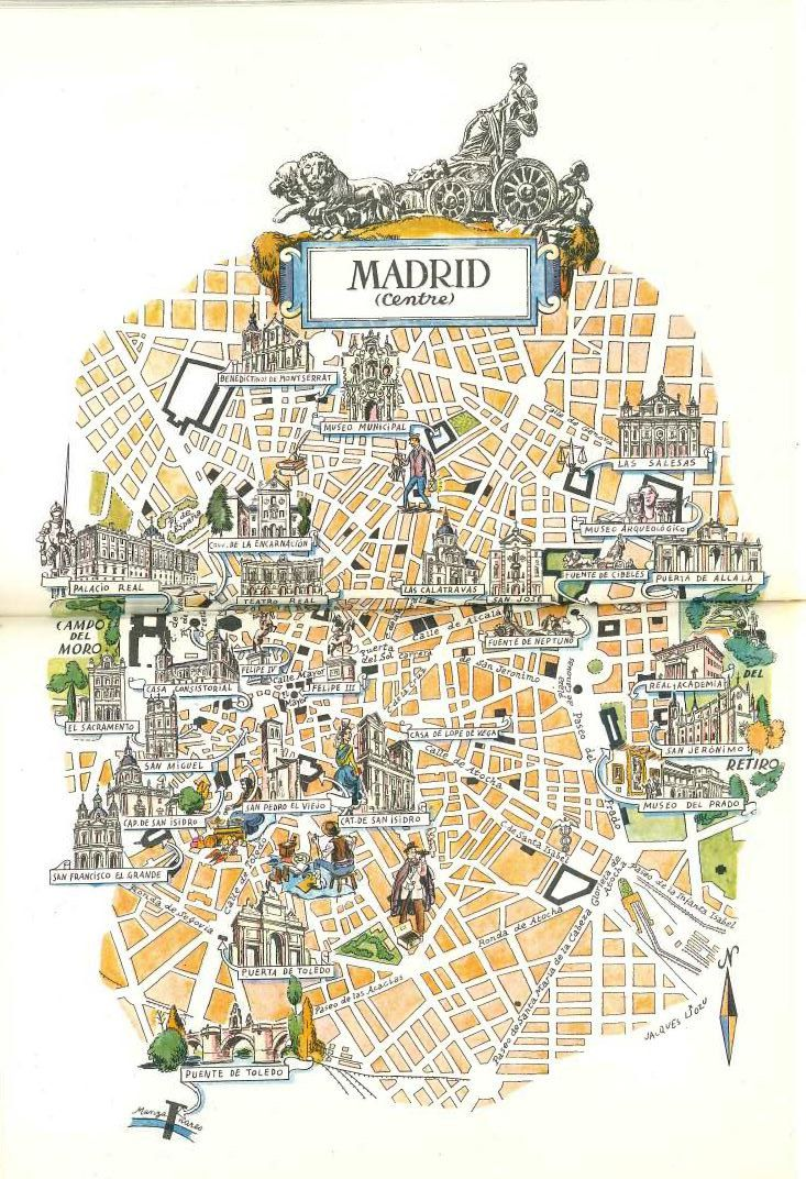 Madrid Map Book Illustration / City Map Art by Jacques Liozu / Vintage Map Print / Retro Map Wall Decor / World Travel Decor / Madrid Spain by HildaLea on Etsy