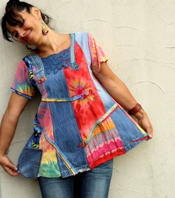 ML Pastel rainbow denim recycled dress tunic by jamfashion on Etsy, $84.00