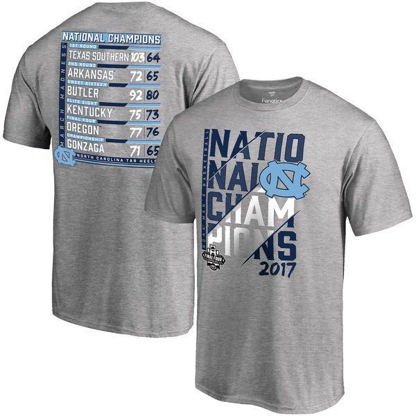 Men's Fanatics Branded Heather Gray North Carolina Tar Heels 2017 NCAA Men's Basketball National Champions Ocotillo Schedule T-Shirt