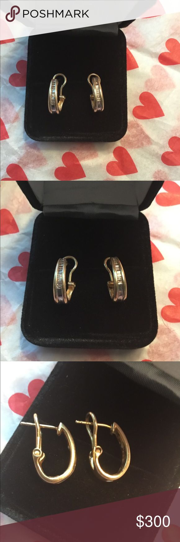 14kt YG Diamond Hoop Earrings These are so elegant yet simple. 14kt Solid Yellow Gold hoop earrings. They are lined with natural diamond baguettes. Very comfortable earrings. Jewelry Earrings