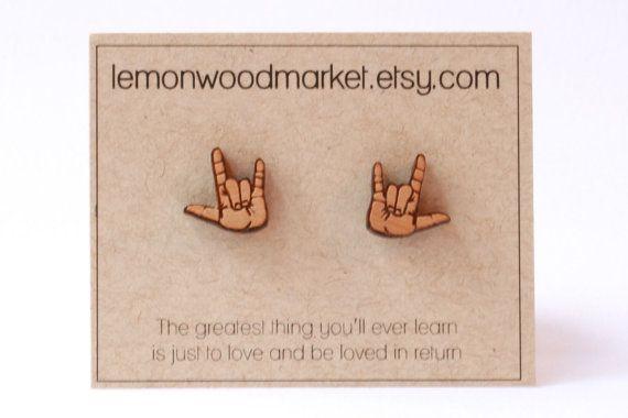 ASL I love you earrings alder laser cut wood by LemonWoodMarket