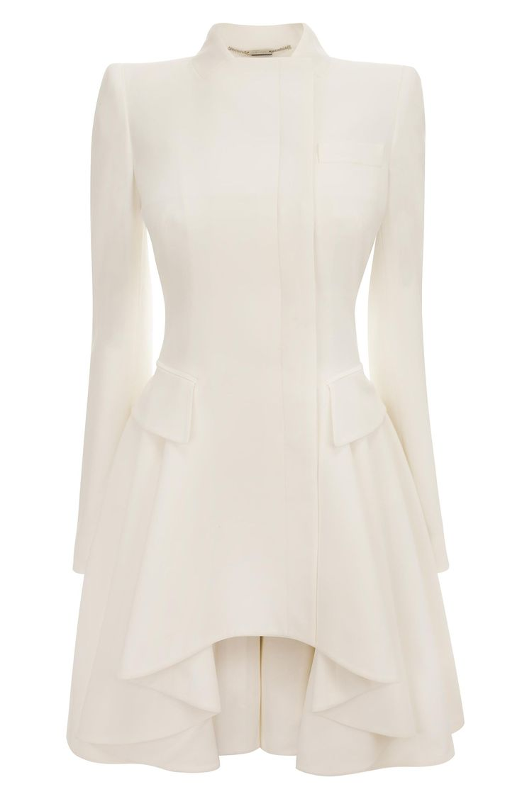 Alexander McQueen White Crepe Circle-Drape Dress-Coat