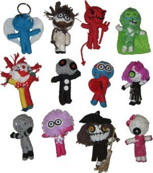 "Voodoo Dolls by Voodoo. $19.99. Great for goodie bags/party favors and handmade. Collection of 12 assortment string Voodoo dolls; You will get one of each. 2.5"" string dolls, with hanging loop. From the Manufacturer                Voodoo Dolls - The Voodoo doll is all delicately hand made from the natural string. They are very popular with kids and adults alike. Every doll is made from a single thread and each has its own facial expression. These dolls a very collectable since ea..."
