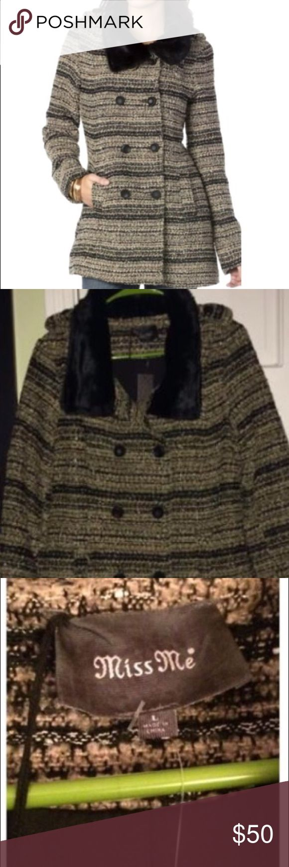Miss Me Pea Coat NWT, size L. Beautiful, black and brown tweed coat with fur lined collar. NWT, Miss Me brand, size large, double breasted buttons. Miss Me Jackets & Coats Pea Coats