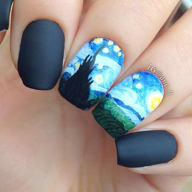 Instagram media ane_li - starry night painting by vincent van gogh, #nail #nails #nailart
