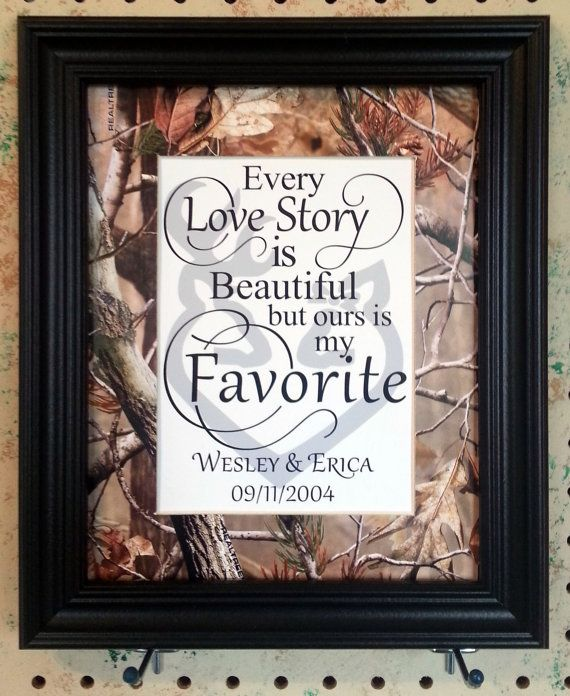 Personalized Realtree Camo Hardwoods Green Blaze Orange Buck Doe Matted 8x10 Wedding Shower Gift Home Decor Every Love Story Is Beautiful
