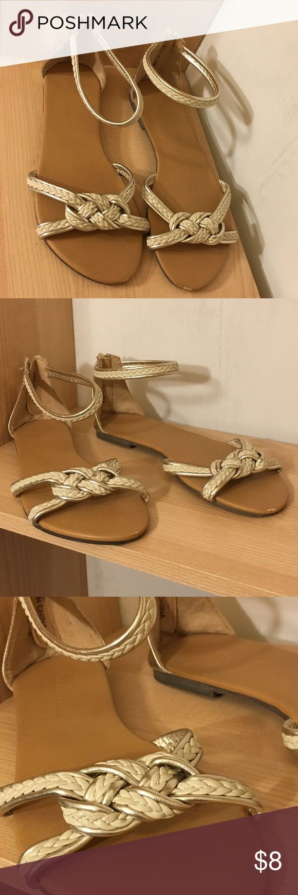 Forever 21 Knot Sandals Cute size 7 Forever 21 zip up sandals. Gently worn. Cream and gold metallic with nautical knot detail. Zipper on the back. Forever 21 Shoes Sandals