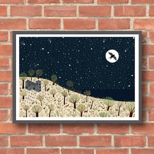 Lara Hawthorne - Owlman Landscape, giclee print