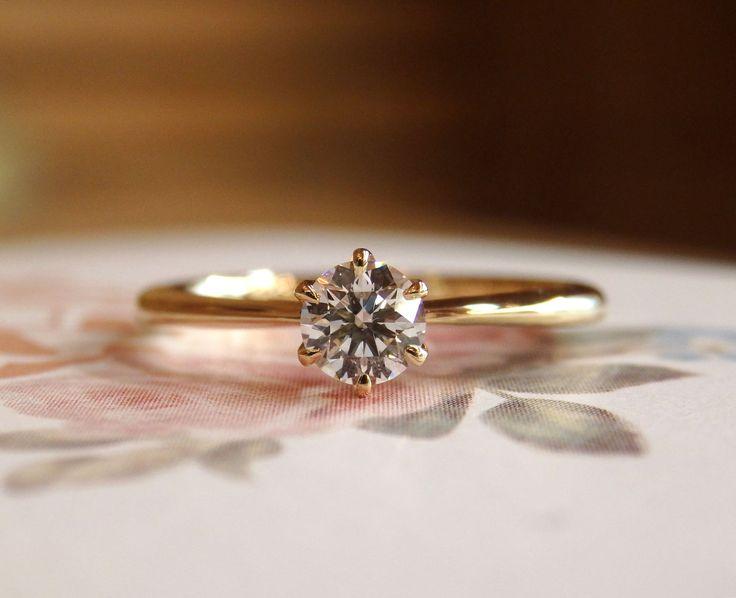 ゴールドのソリテール(婚約指輪) [エンゲージリング,engagement,ring,wedding,diamond,ダイヤモンド,Gold,K18,ウエディング,bridal]
