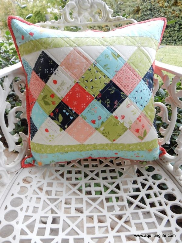 Mini Charm Patchwork Pillow A Quilting Life Quilt Pillow Case Patchwork Quilts Patchwork Pillow