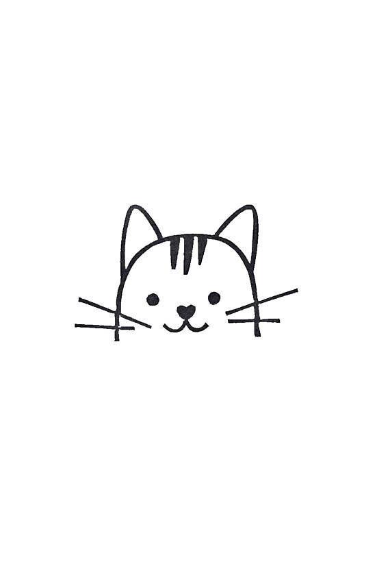 Cat Rubber Stamp Birthday Gift Kids Peekaboo CatDibujo
