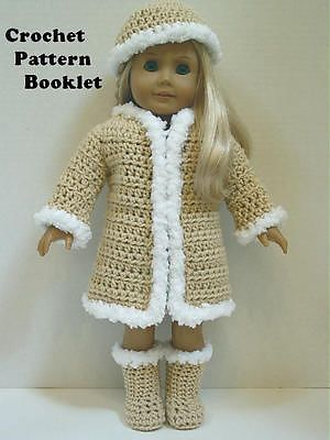 Crochet Pattern #CS26 Furry Coat Hat and Boots Sized to fit most 18 inch Dolls