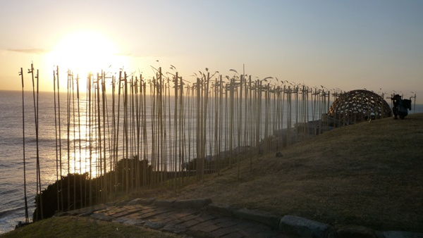 Sculptures by the Sea #Bondi #Sydney #Australia #travel 222 bamboo pipes played by the wind. One for each victim of the Bali and Jakarta Bombings, remembered in a haunting song.