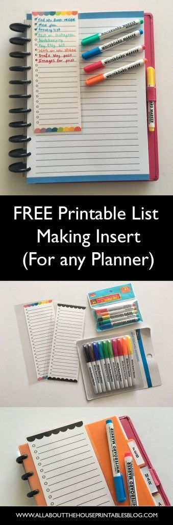 free printable list making planner insert rainbow checklist to do list dry erase planner bookmark page marker how to make printables http://www.allaboutthehouseprintablesblog.com/free-printable-planner-insert-for-to-do-lists-grocery-lists-weekly-routine-tasks-etc/