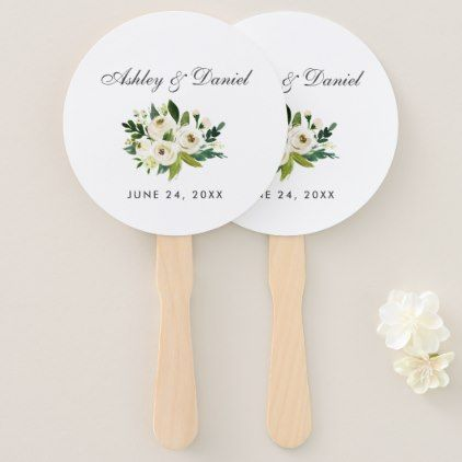 Watercolor Floral Green White Wedding Hand Fan - winter wedding diy marriage customize personalize couple idea individuel