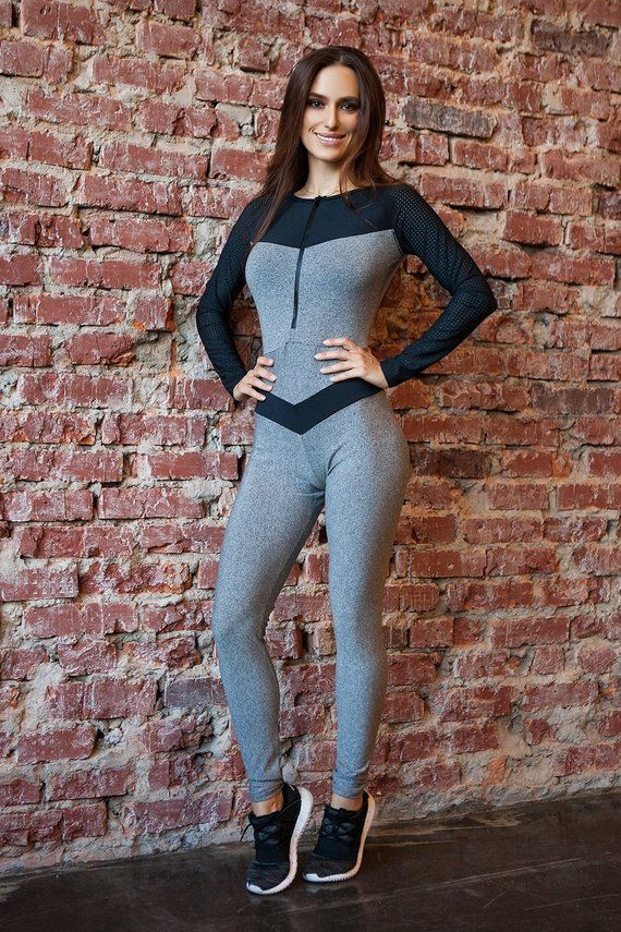 e74c80d14d76 Zipper Jersey Black Unitard Bodysuit Catsuit Jumpsuit Brazilian Workout  Activewear