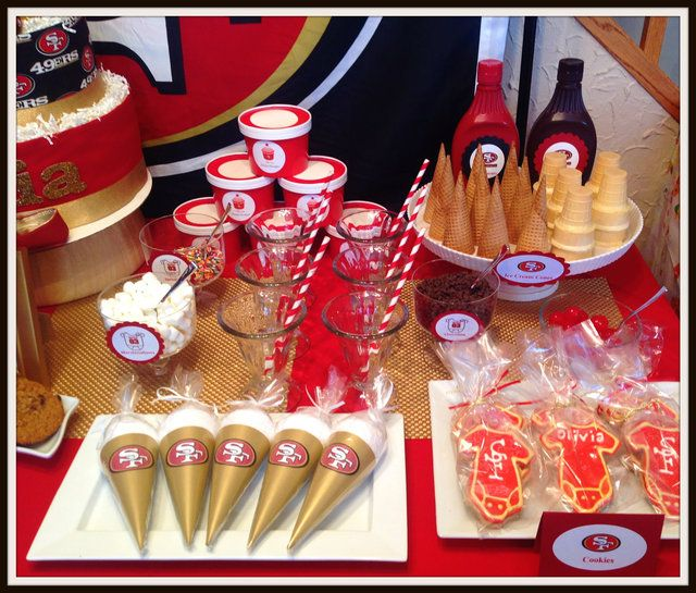 Cute treats at a Football Baby Shower!  See more party ideas at CatchMyParty.com!  #partyideas #babyshower
