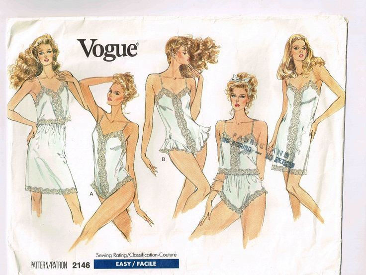 "Uncut Vogue Lingerie Pattern #2146, L - XL Sizes 16 - 18 & 20 - 22,  Bust 38"" - 44"" (97 - 112cm), Slip, Camisole, Half-Slip, Panties, Teddy by TheShoppingMoll on Etsy"