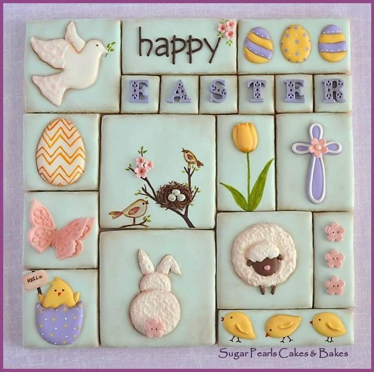 Happy Easter & Spring Decorated Cookies Collage - bunny rabbit, chicks, eggs, cross|, tulip, butterfly / Cookie Connection