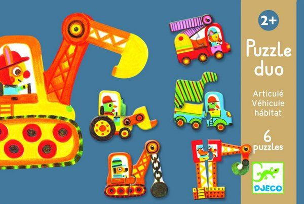 Duo Puzzle Vehicles by Djeco Fabulous puzzle for little hands. Strong thick pieces presented in a strong box. There are 6 seperate puzzles to complete with 2 pieces per puzzle. These bright clever vehicles have a moving part too for lots of fun.  2 years + 6cm L x 18cm W x 12cm H