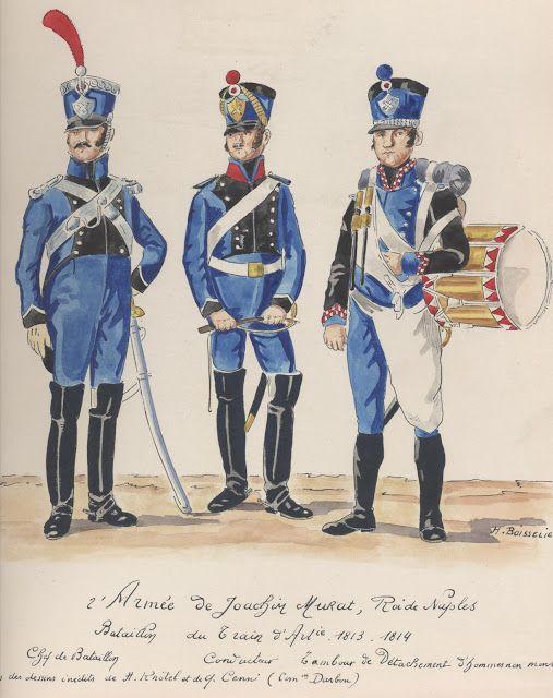2e Armée de Joachim Murat, roi de Naples Bataillon du train d'artillerie 1813-1814 Chef de bataillon Conducteur Tambour de détachement
