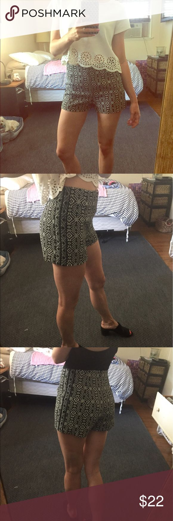 UO High waisted shorts High waisted Aztec-print shorts from Urban Outfitters! These shorts are a nice quality thickness, with a zipper in the back. Pair with a crop top to dress up or down! I have worn these to go out at night as well as to more casual daytime events. They always work!✨ Ecote Shorts