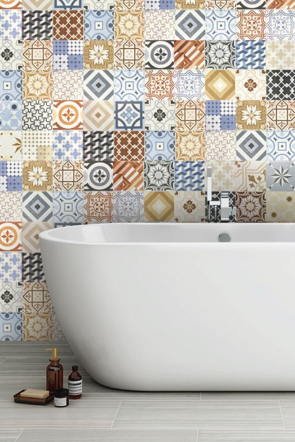 Patterned bathroom tiles (also known as both Spanish or Moroccan tiles) can create a stunning visual effect in your bathroom.